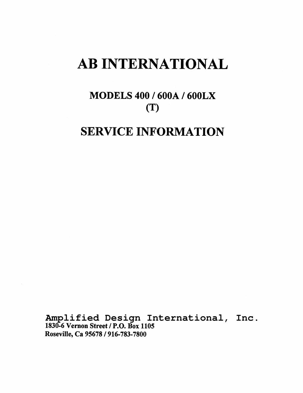 AB International 400 600A 600LX Service Manual
