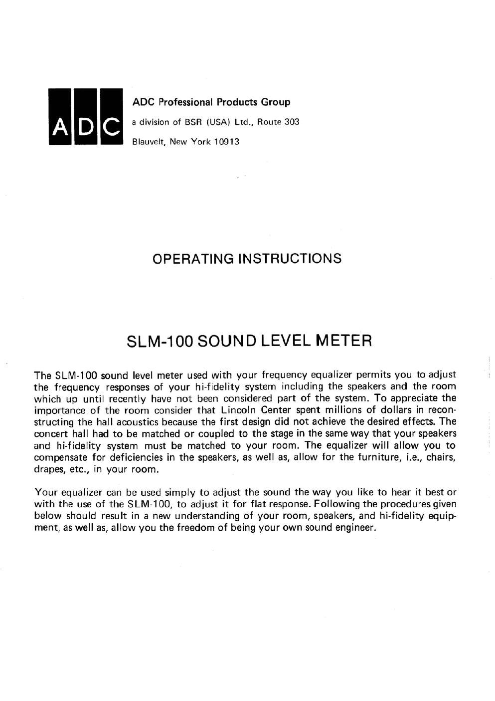 adc slm 100 owners manual