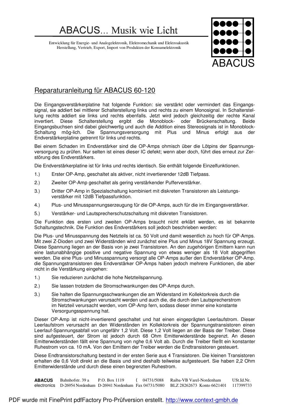 abacus 60 120 service manual