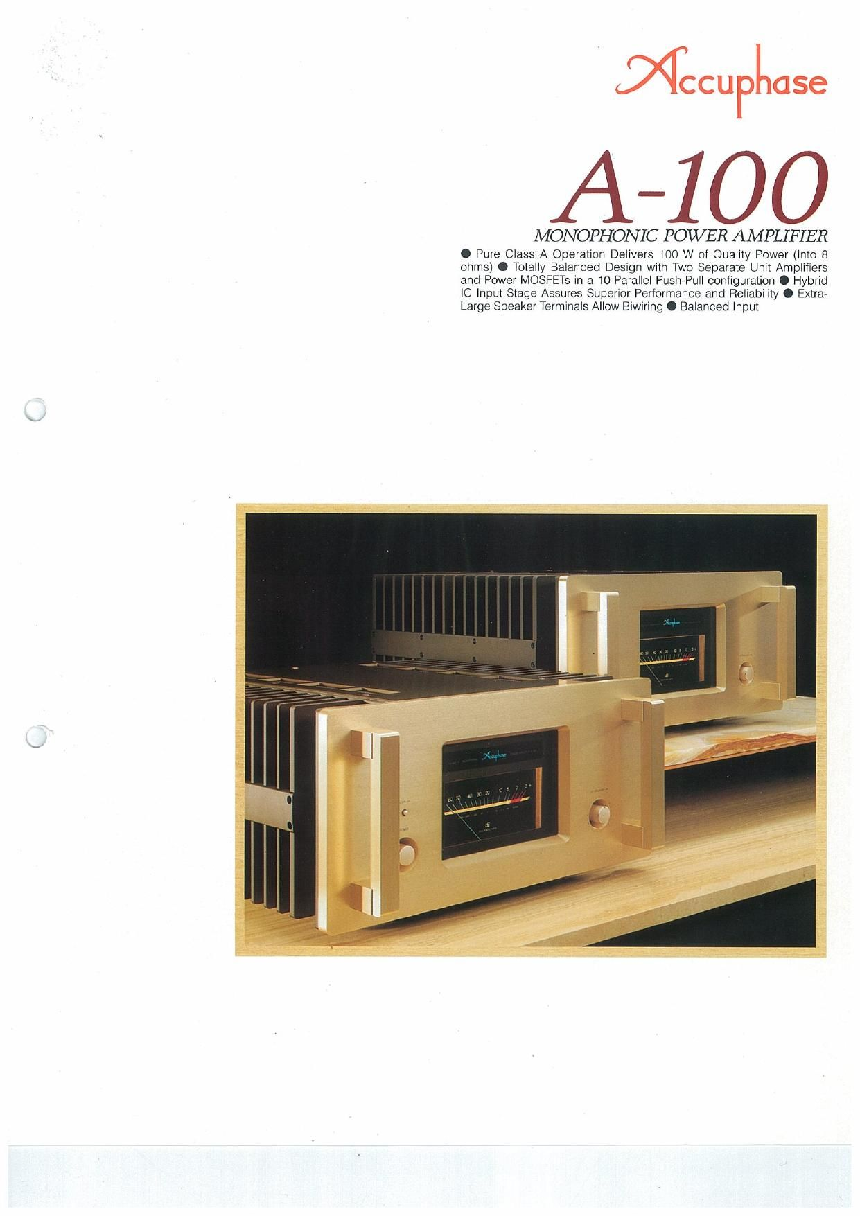Accuphase A 100 Brochure