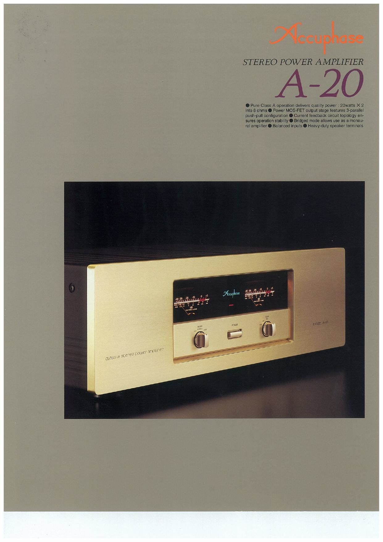 Accuphase A 20 Brochure