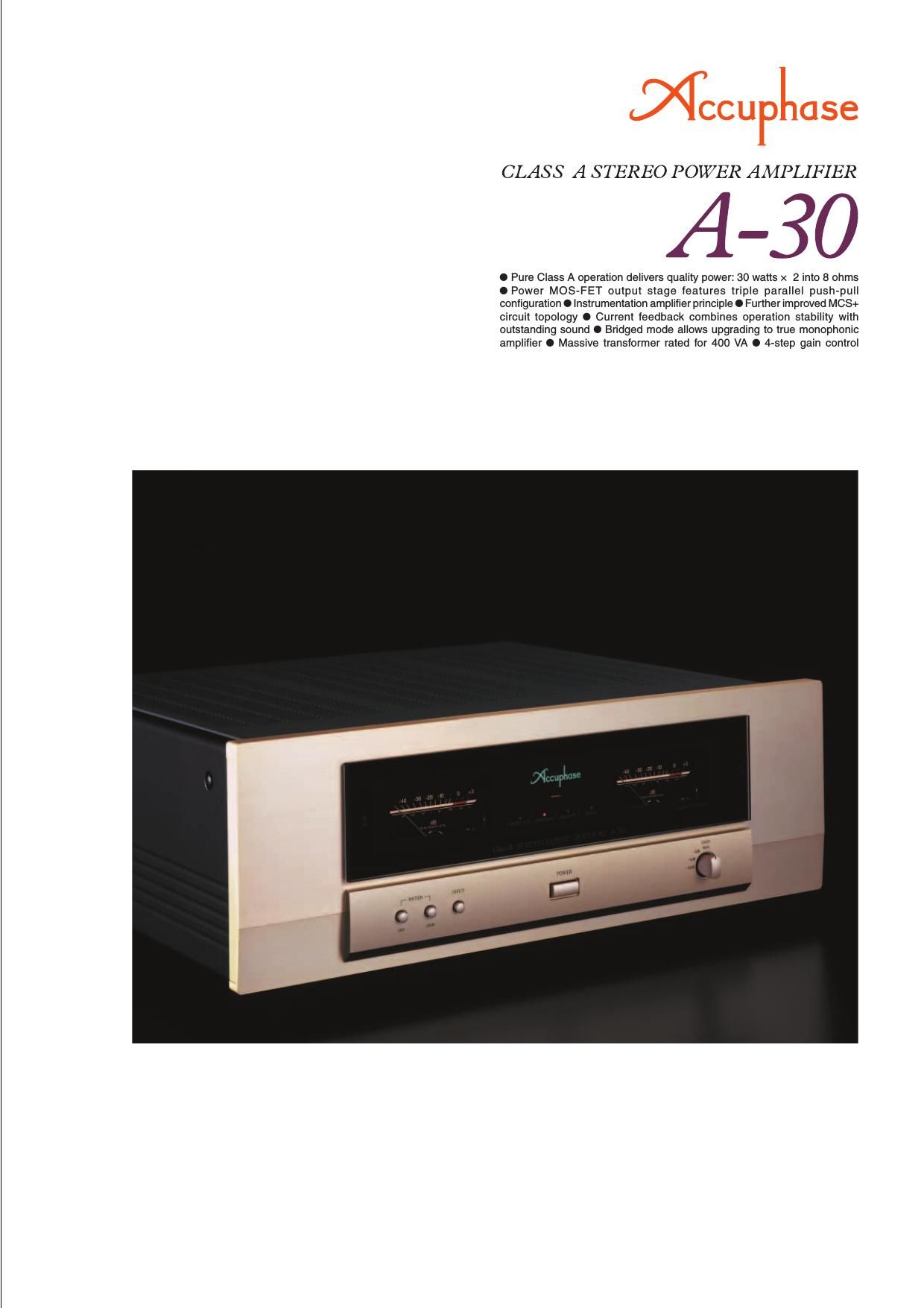 Accuphase A 30 Brochure