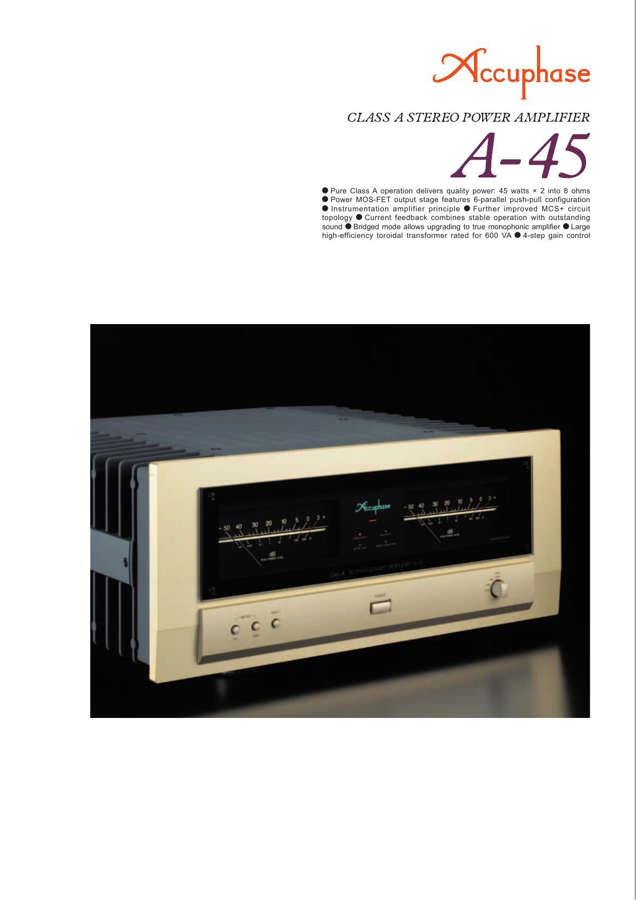 Accuphase A 45 Brochure