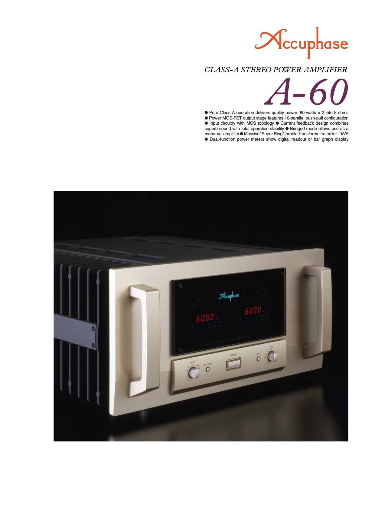 Accuphase A 60 Brochure