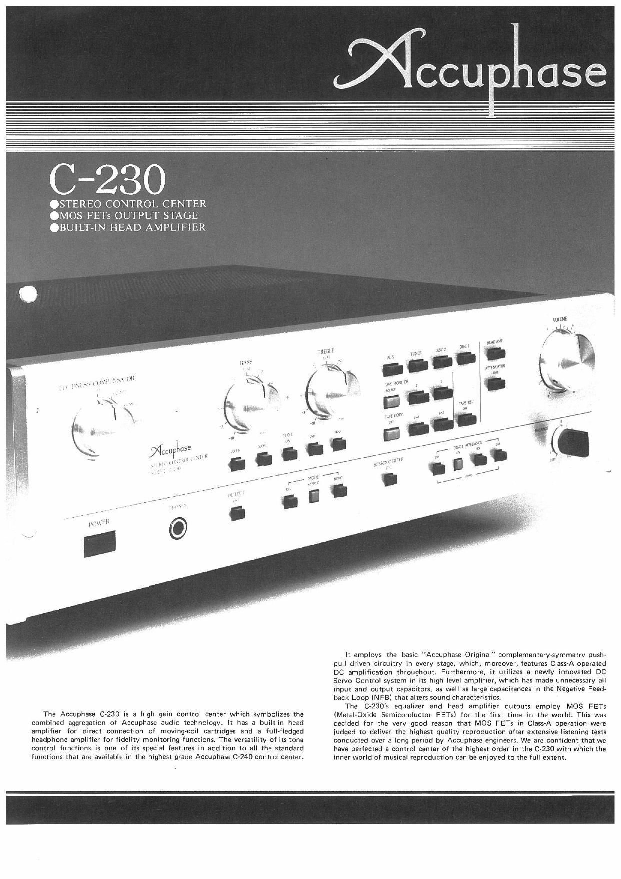 Accuphase C 230 Brochure