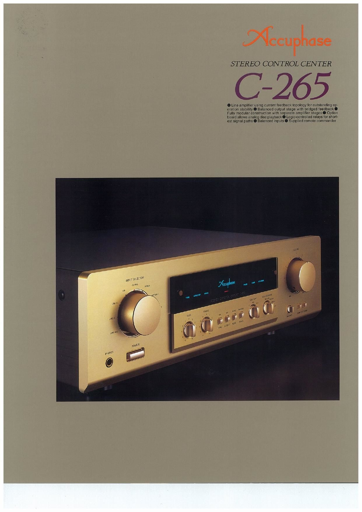 Accuphase C 265 Brochure
