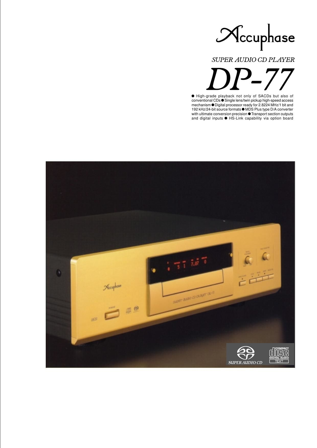 Accuphase DP 77 Brochure