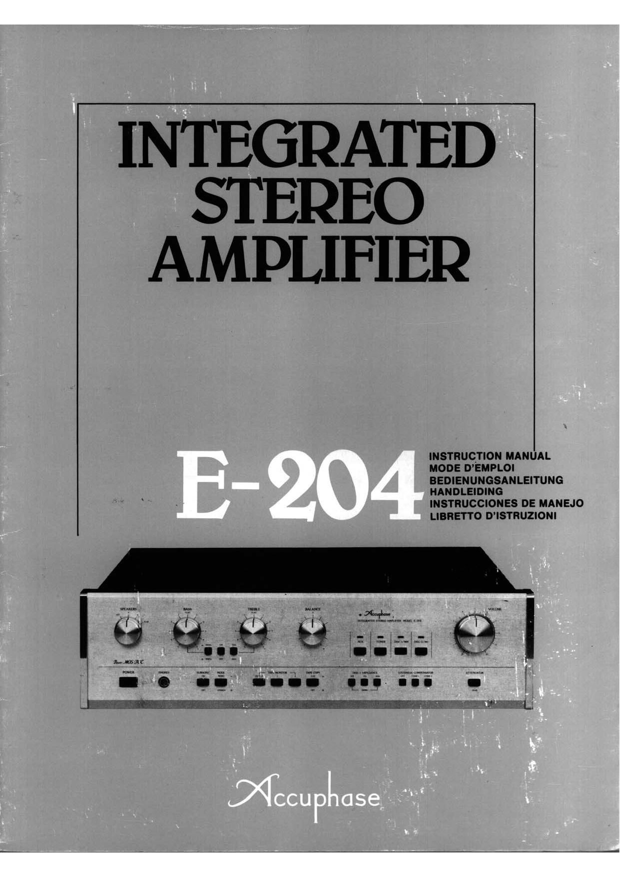 Accuphase E 204 Owners Manual