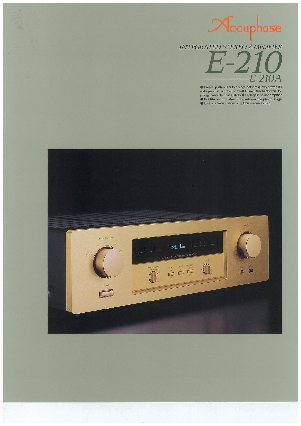Accuphase E 210 Brochure