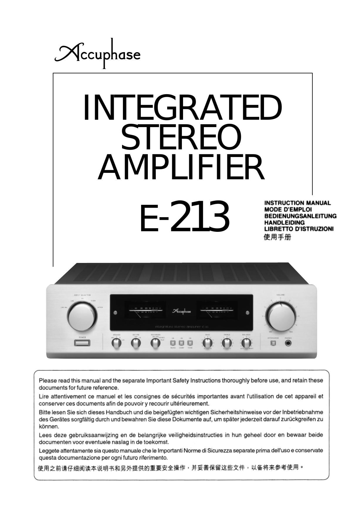 Accuphase E 213 Owners Manual