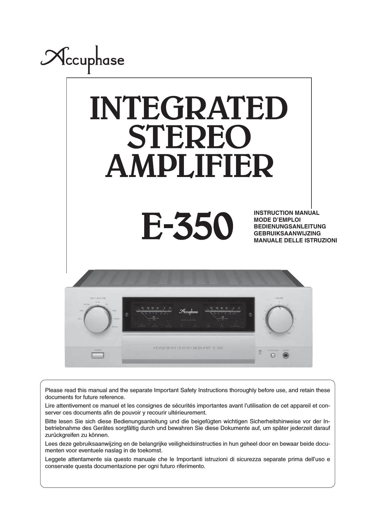 Accuphase E 350 Owners Manual