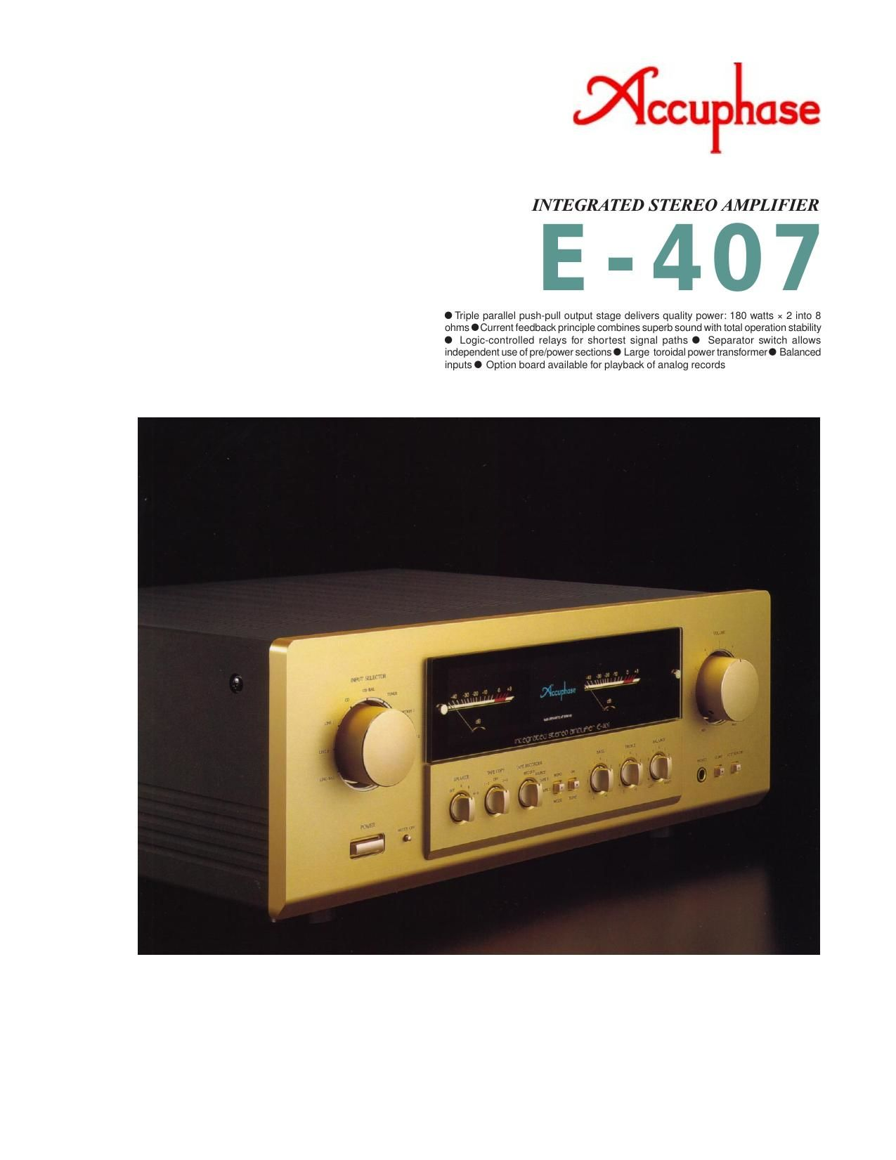 Accuphase E 407 Brochure