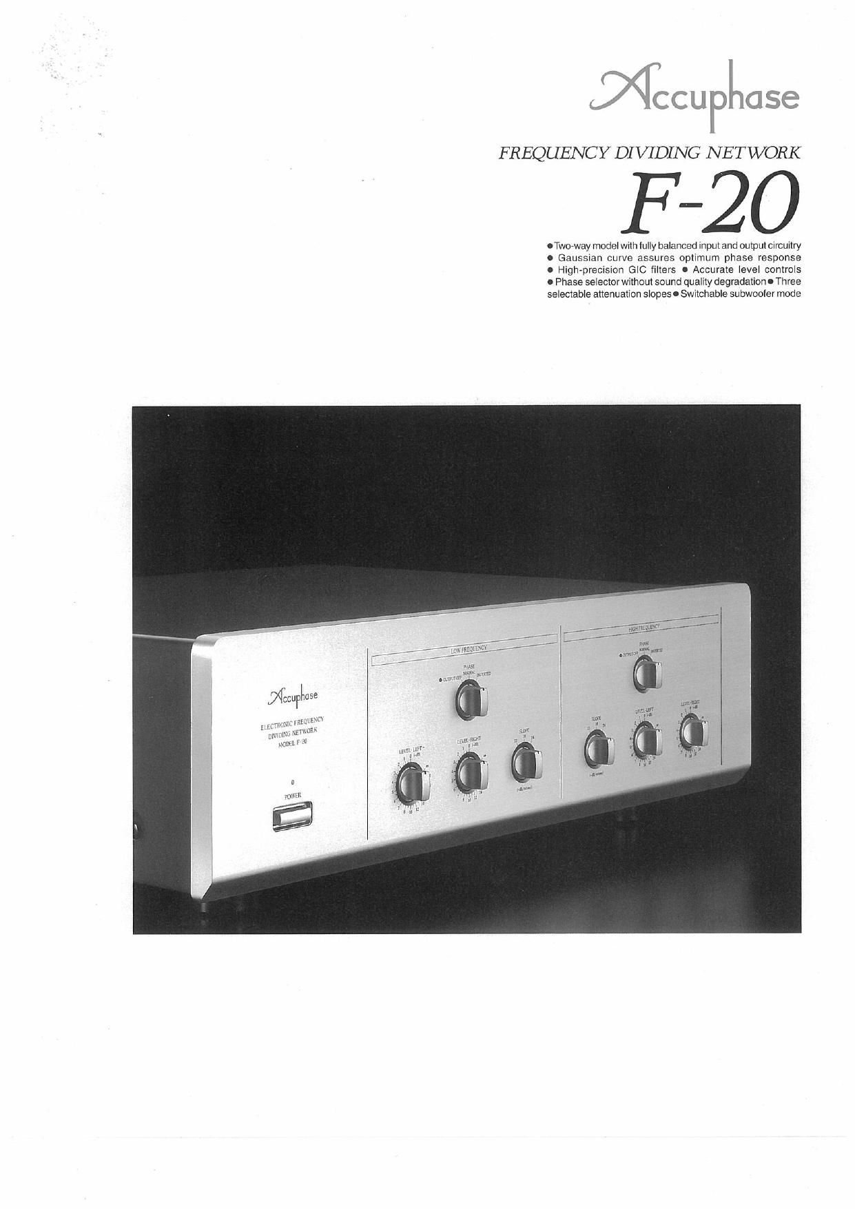 Accuphase F 20 Brochure