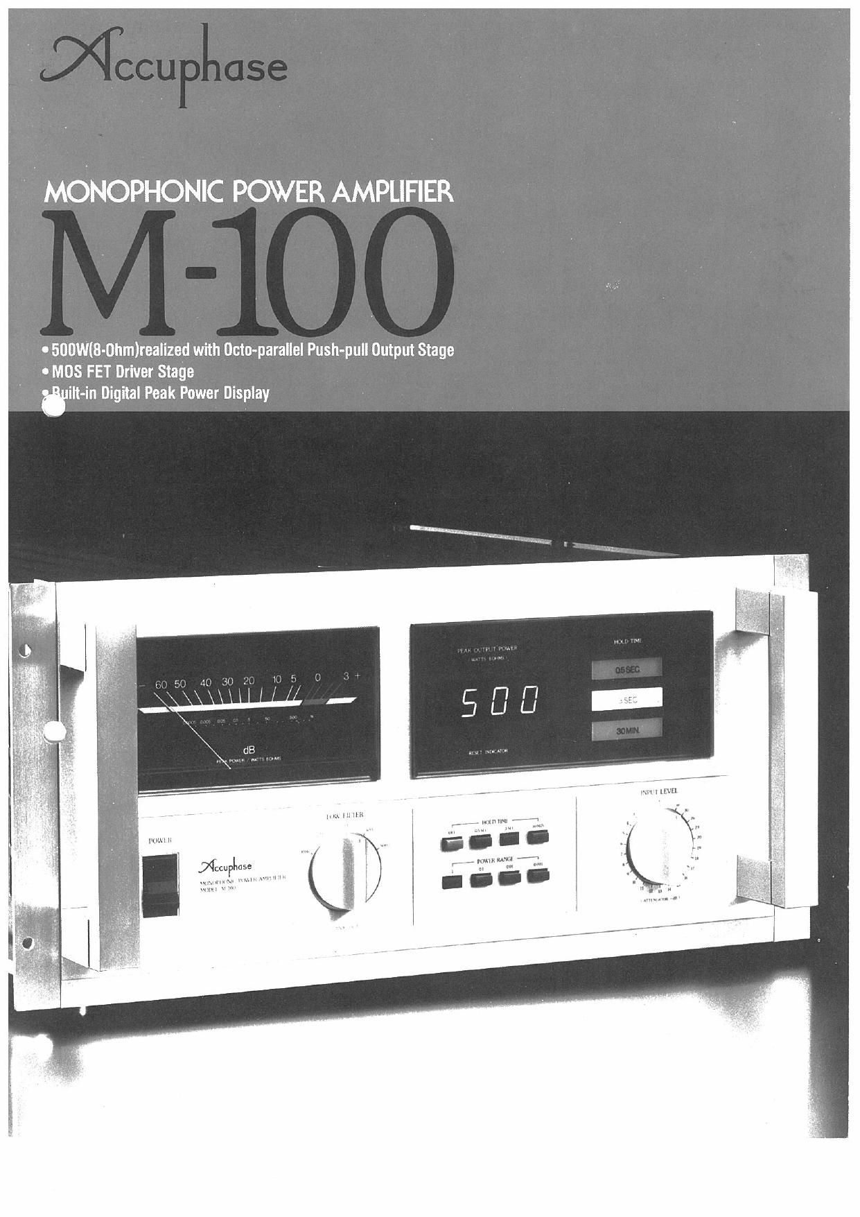 Accuphase M 100 Brochure
