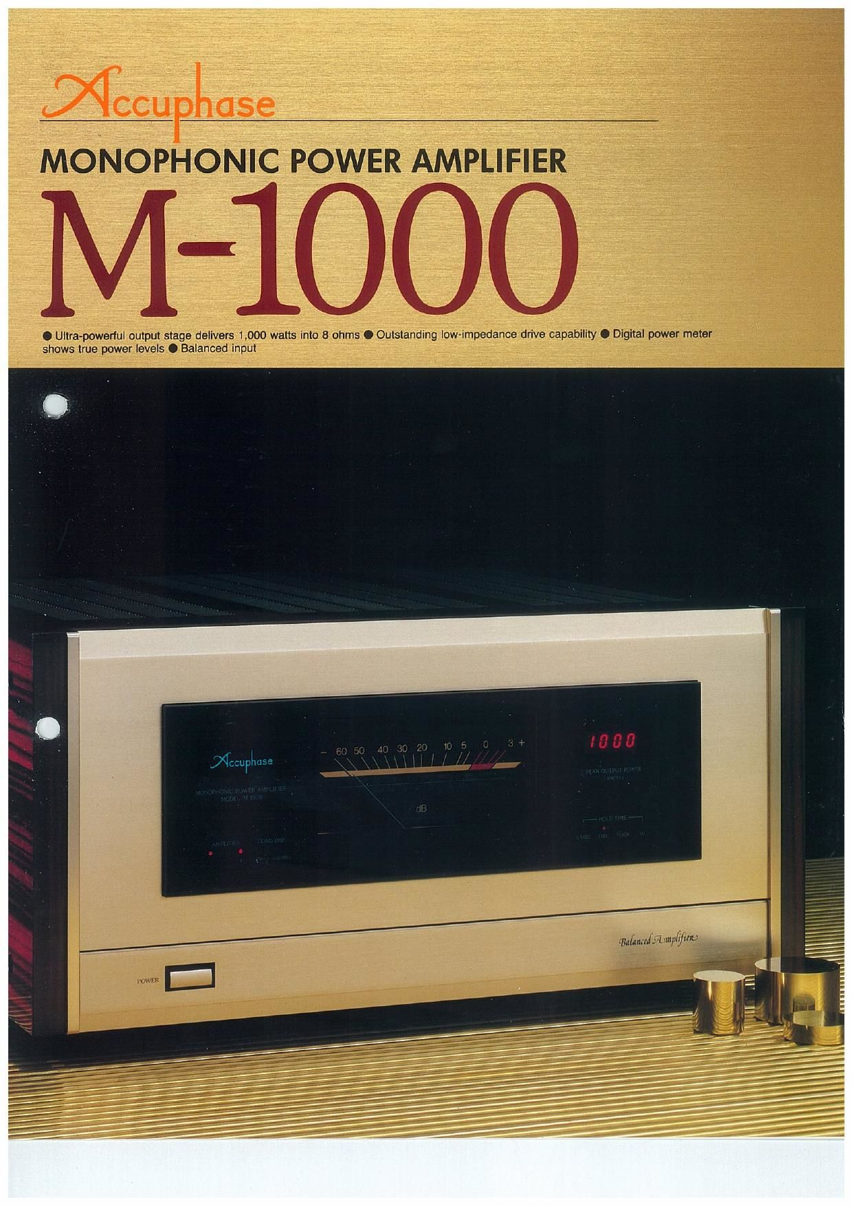 Accuphase M 1000 Brochure
