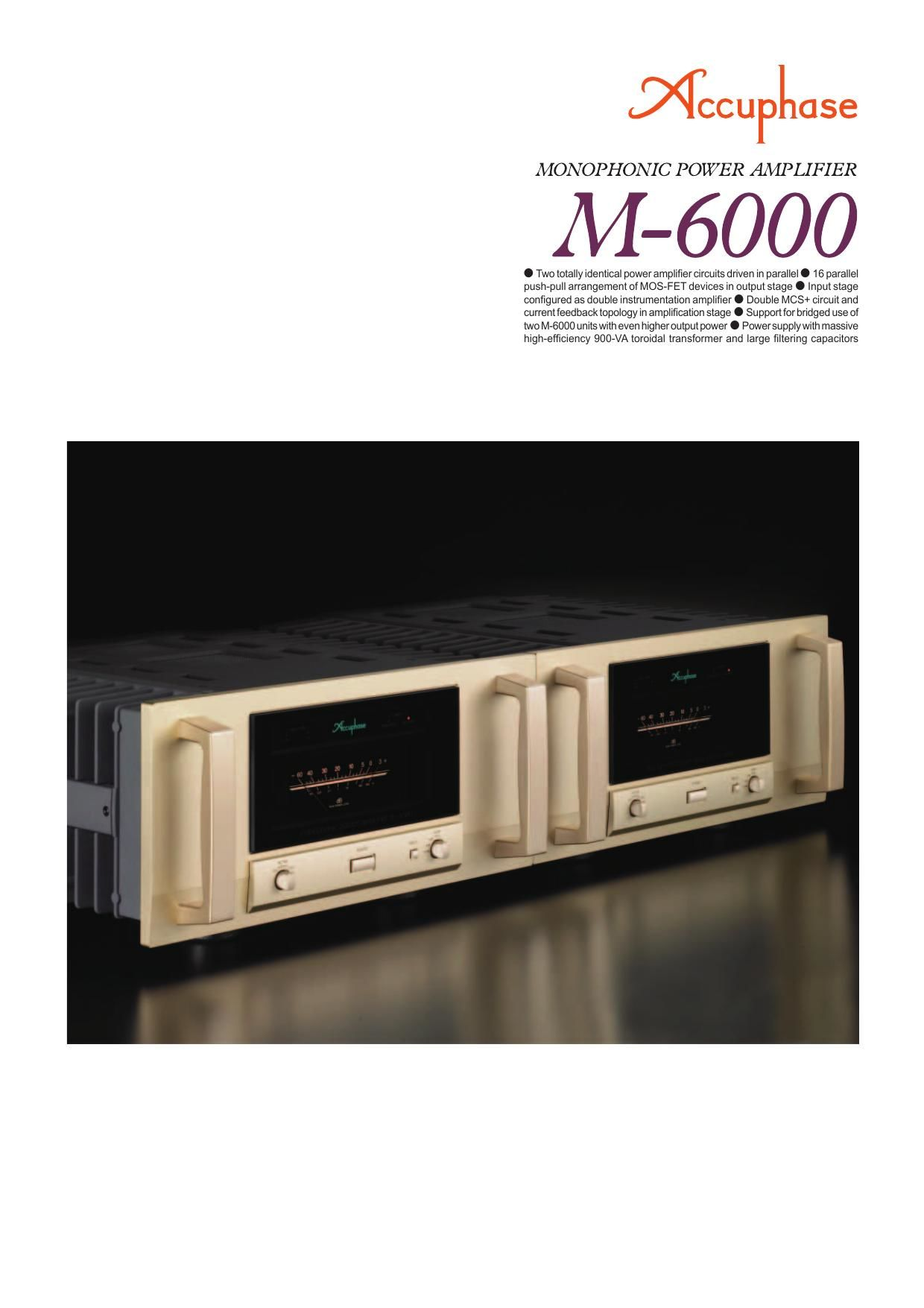 Accuphase M 6000 Brochure