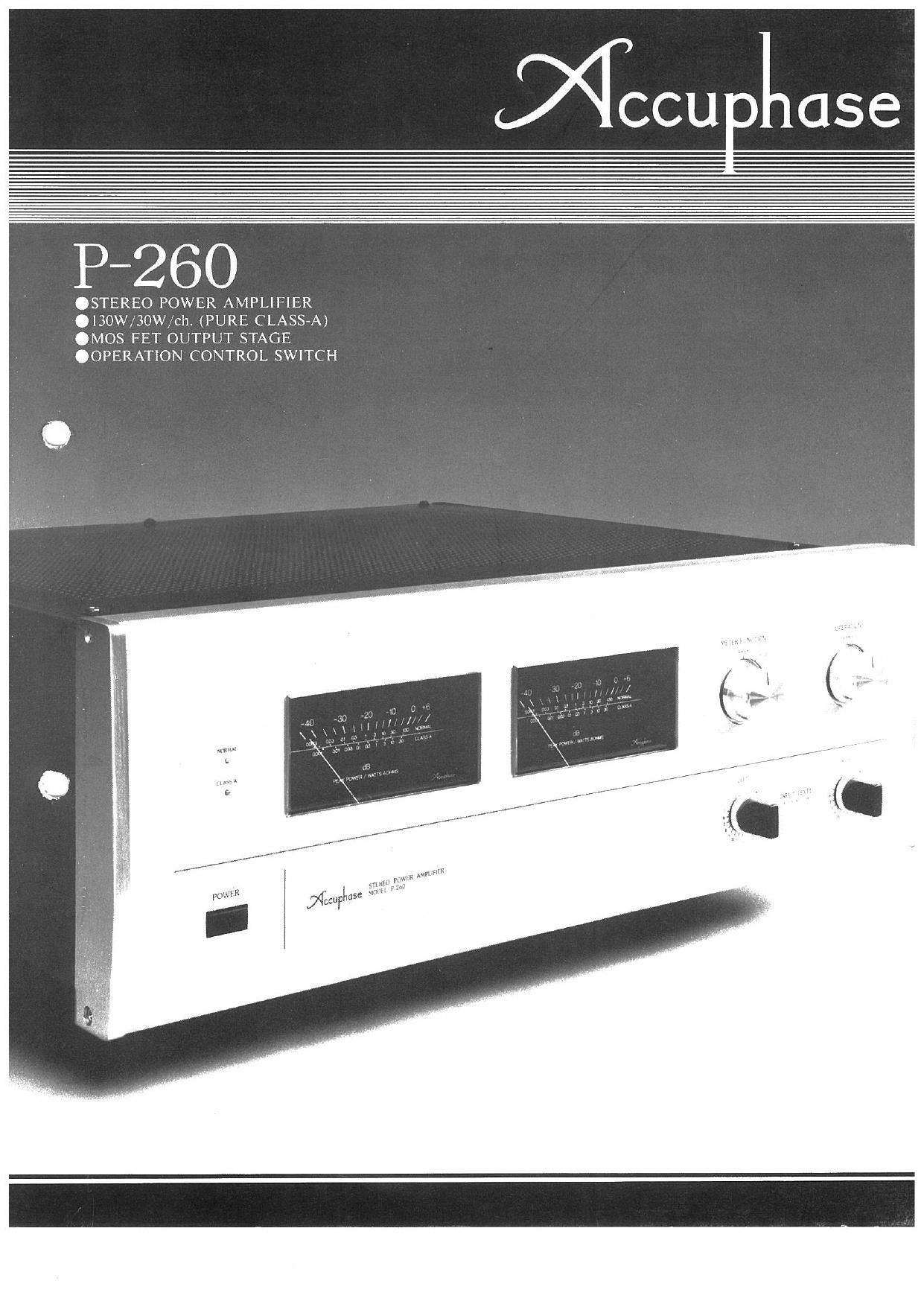 Accuphase P 260 Brochure