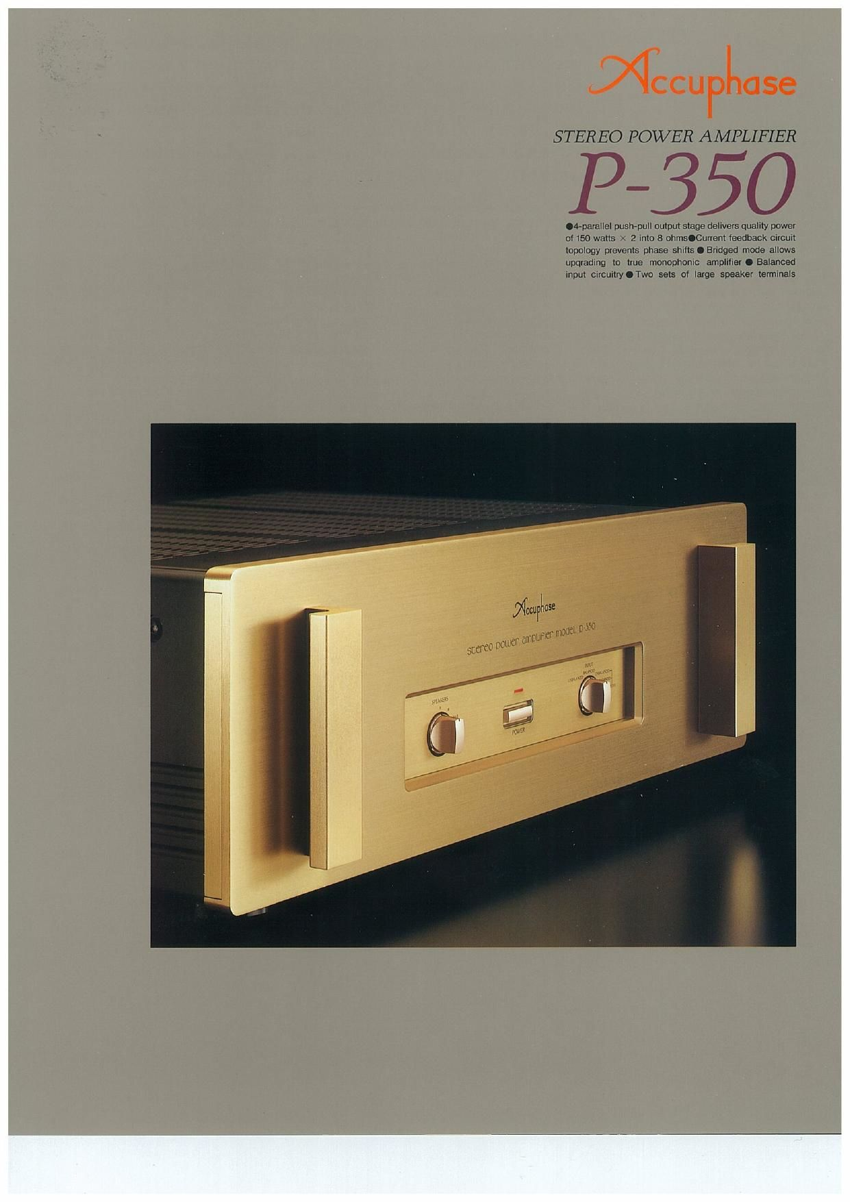 Accuphase P 350 Brochure