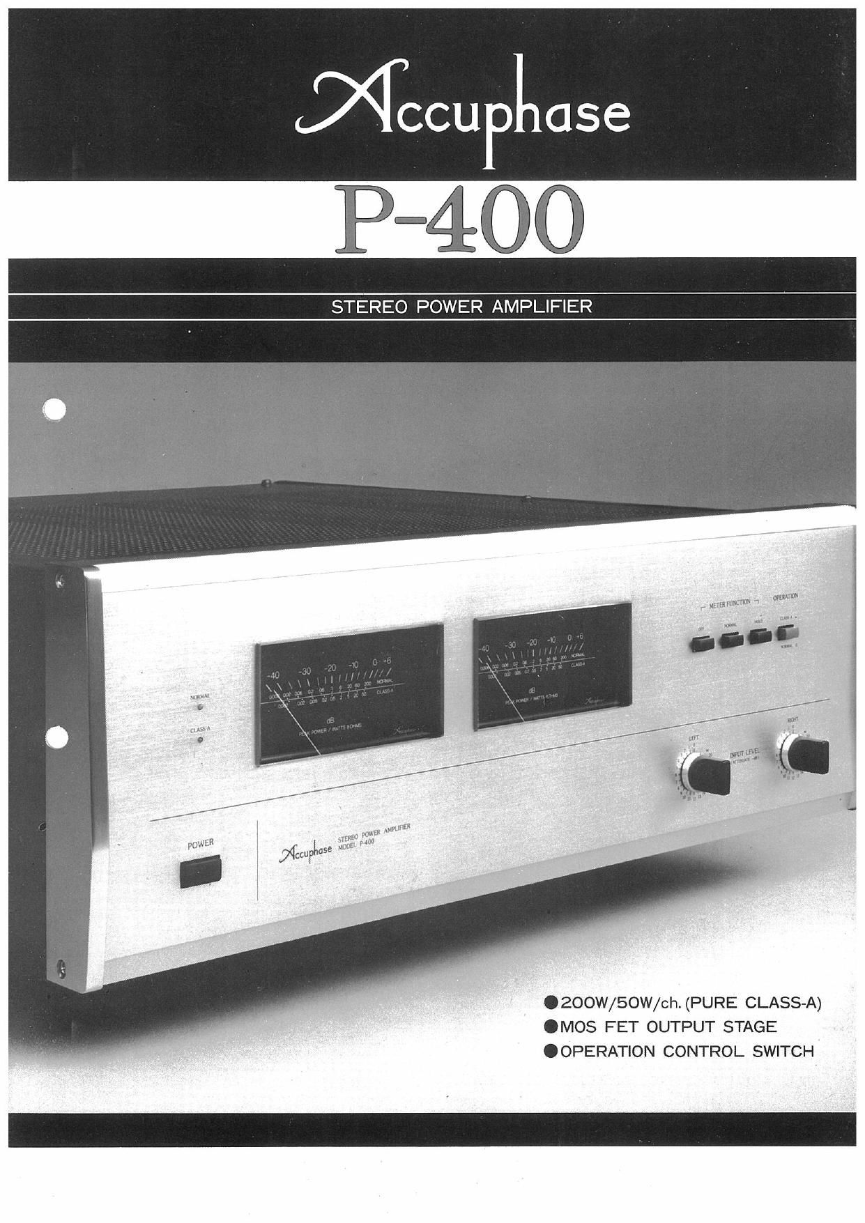 Accuphase P 400 Brochure