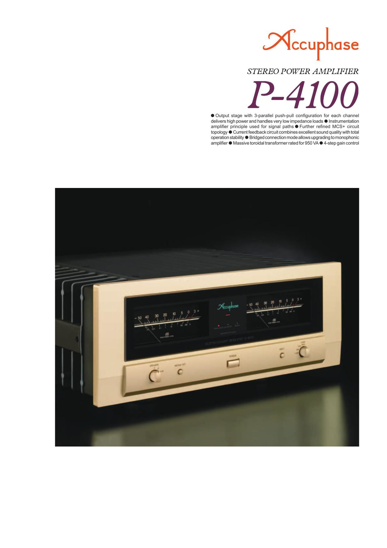 Accuphase P 4100 Brochure