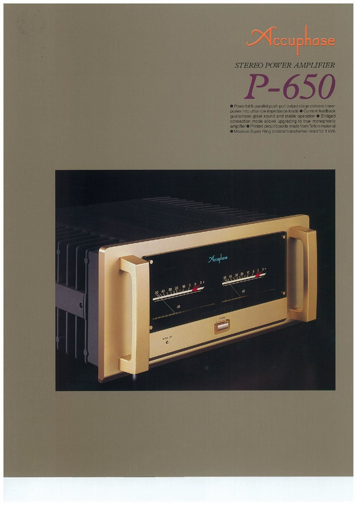 Accuphase P 650 Brochure