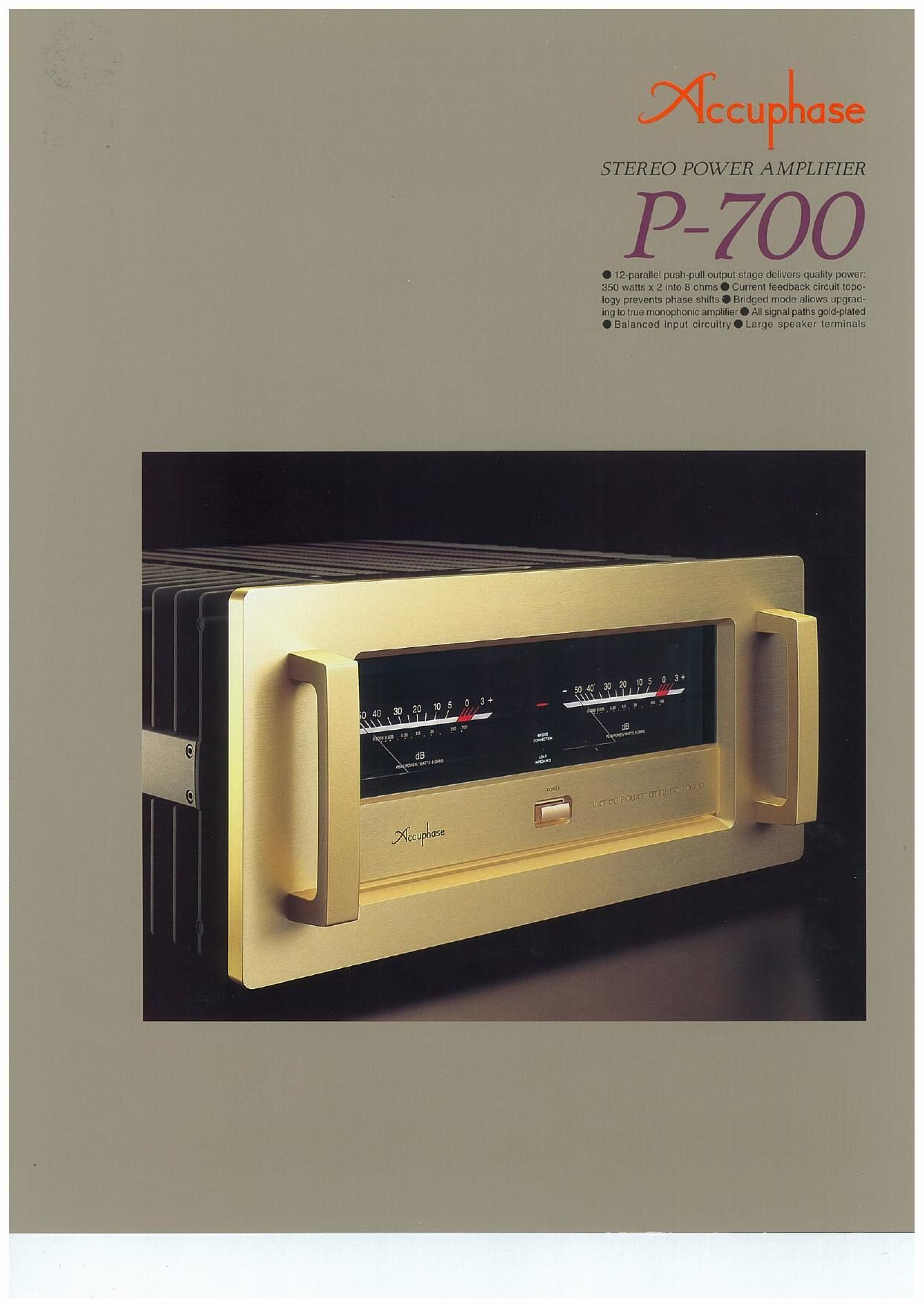 Accuphase P 700 Brochure