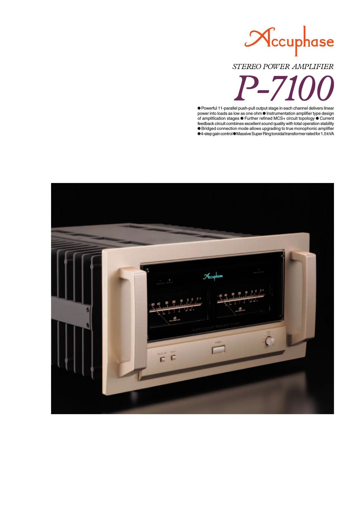 Accuphase P 7100 Brochure