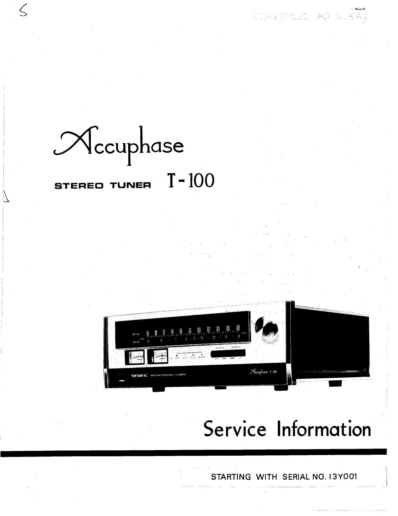 Accuphase T 100 Service Manual