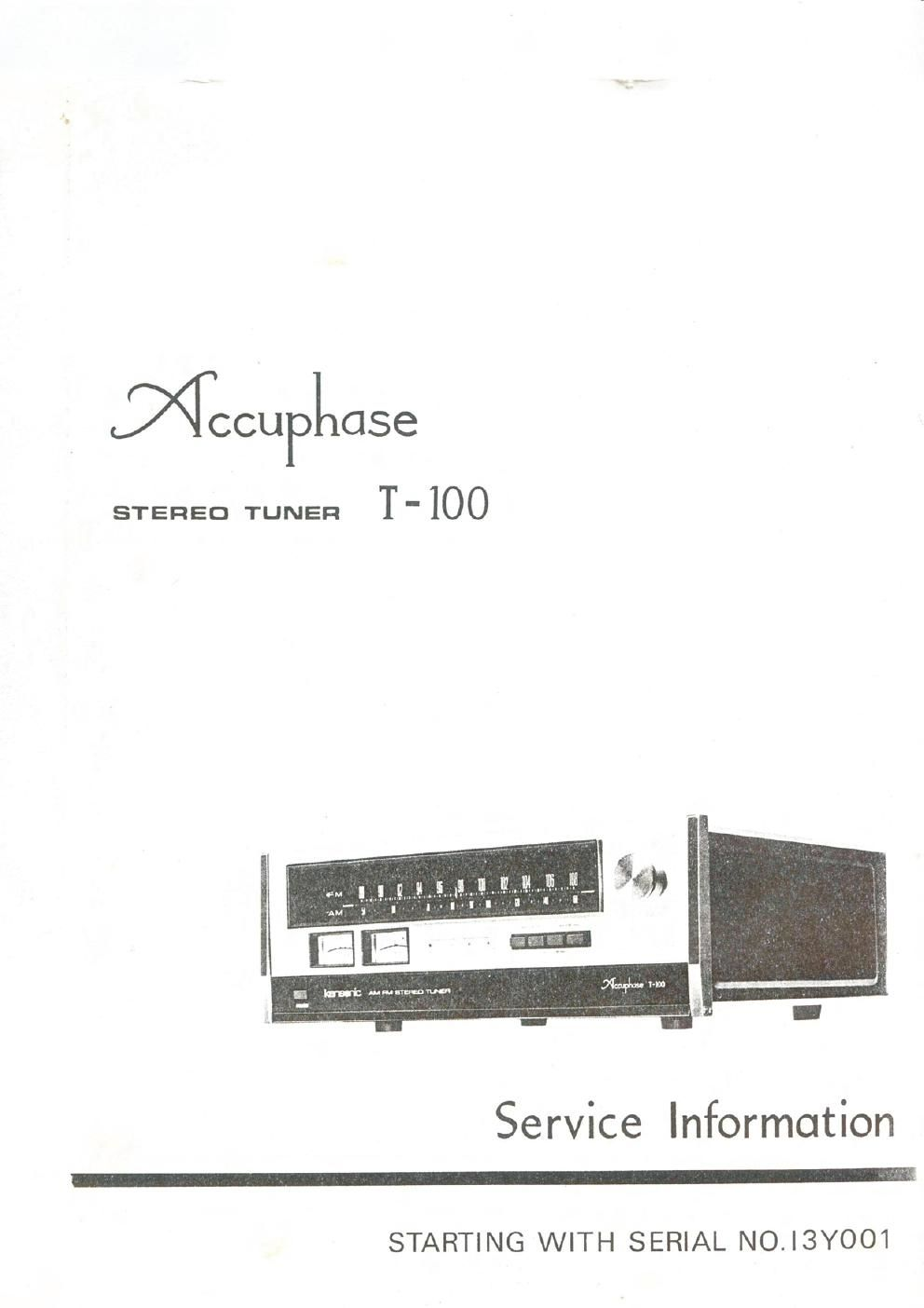 Accuphase T100 tun servicemanual