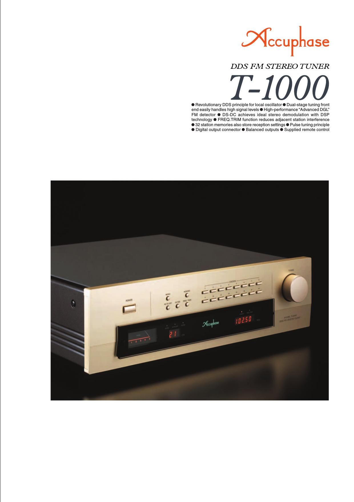 Accuphase T 1000 Brochure