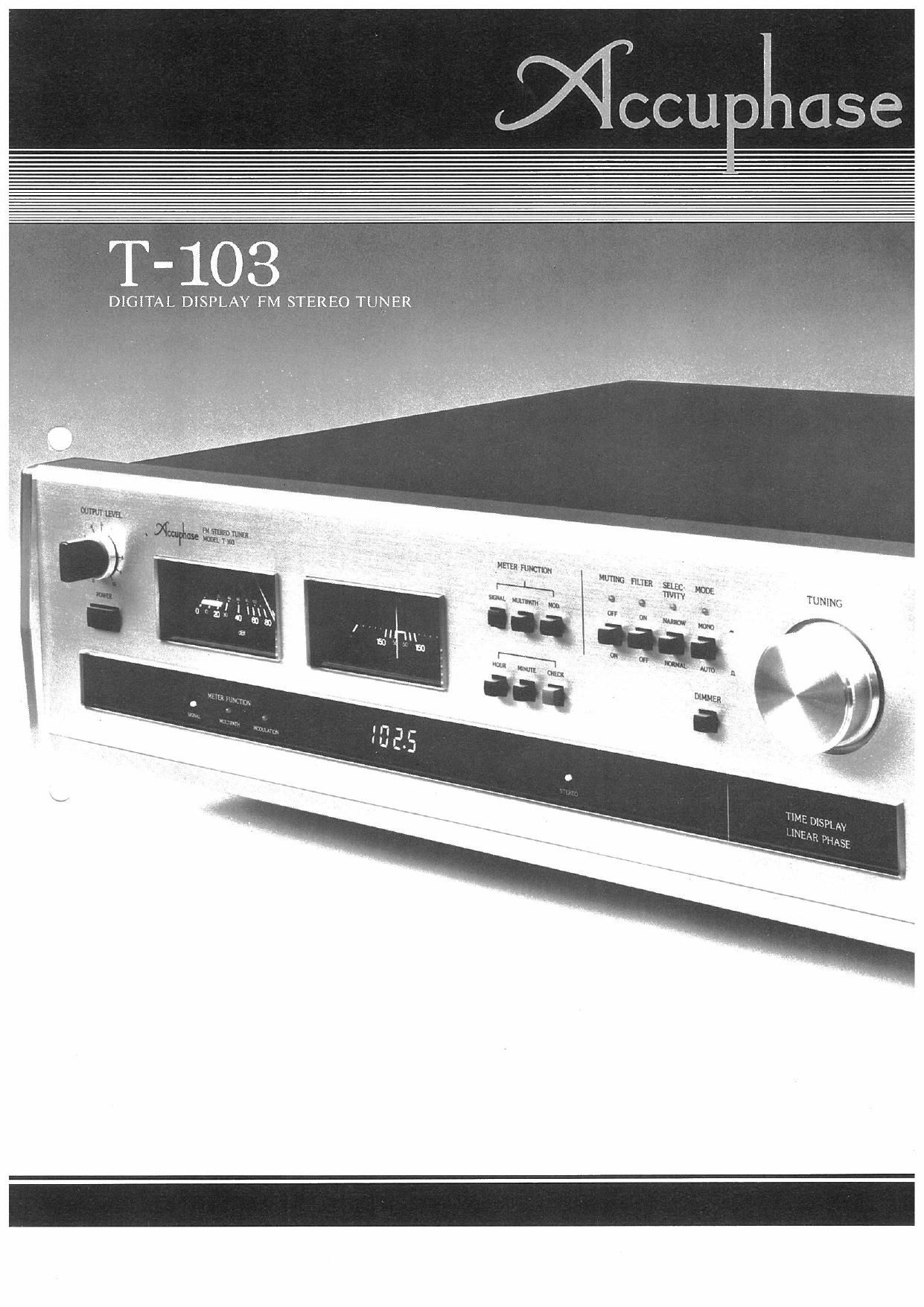 Accuphase T 103 Brochure
