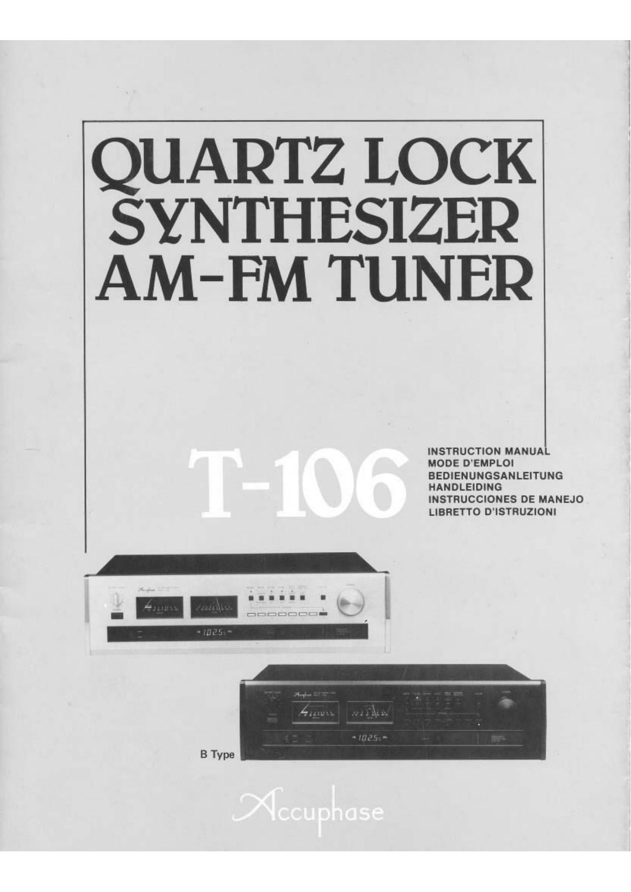 Accuphase T 106 Owners Manual