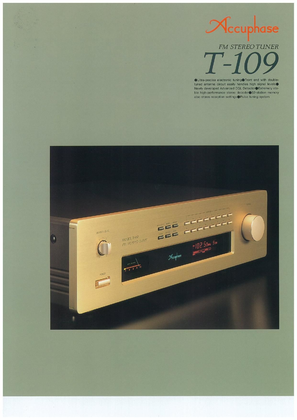 Accuphase T 109 Brochure