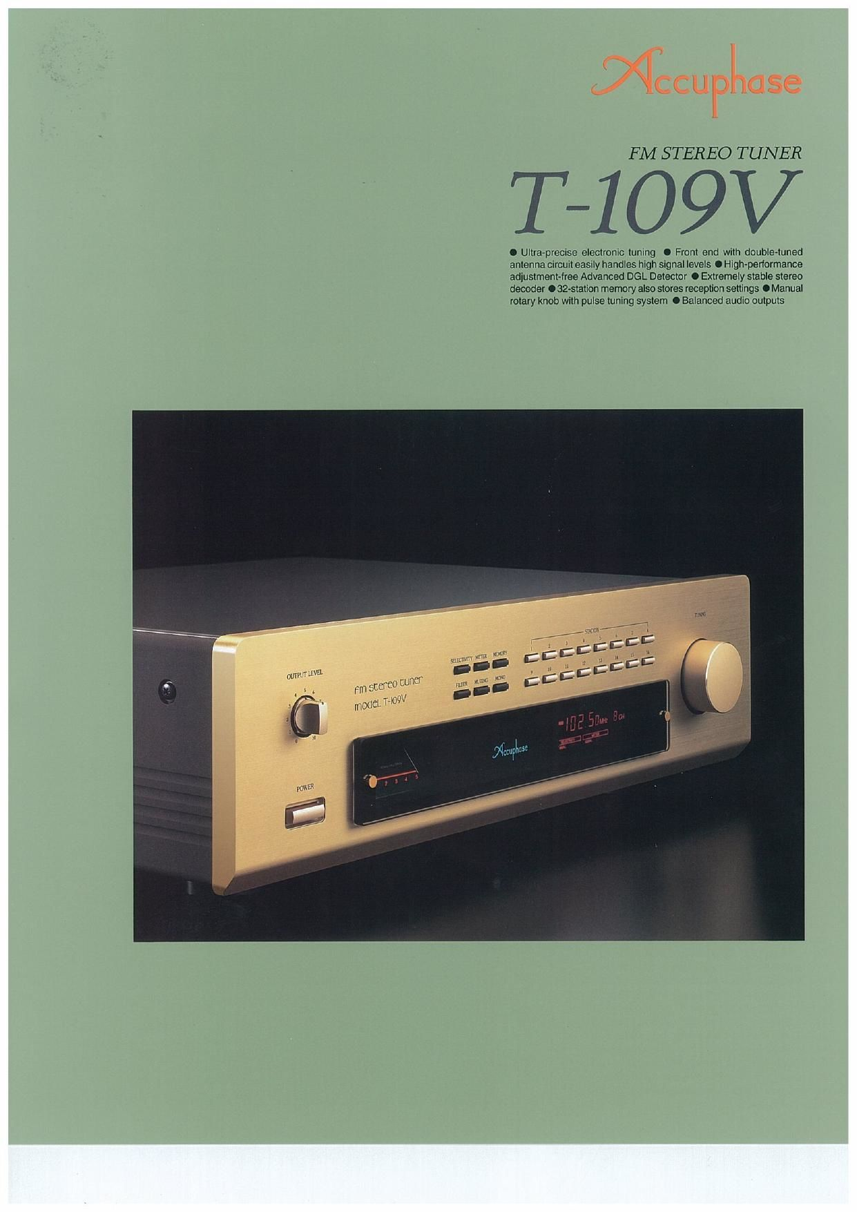 Accuphase T 109 V Brochure