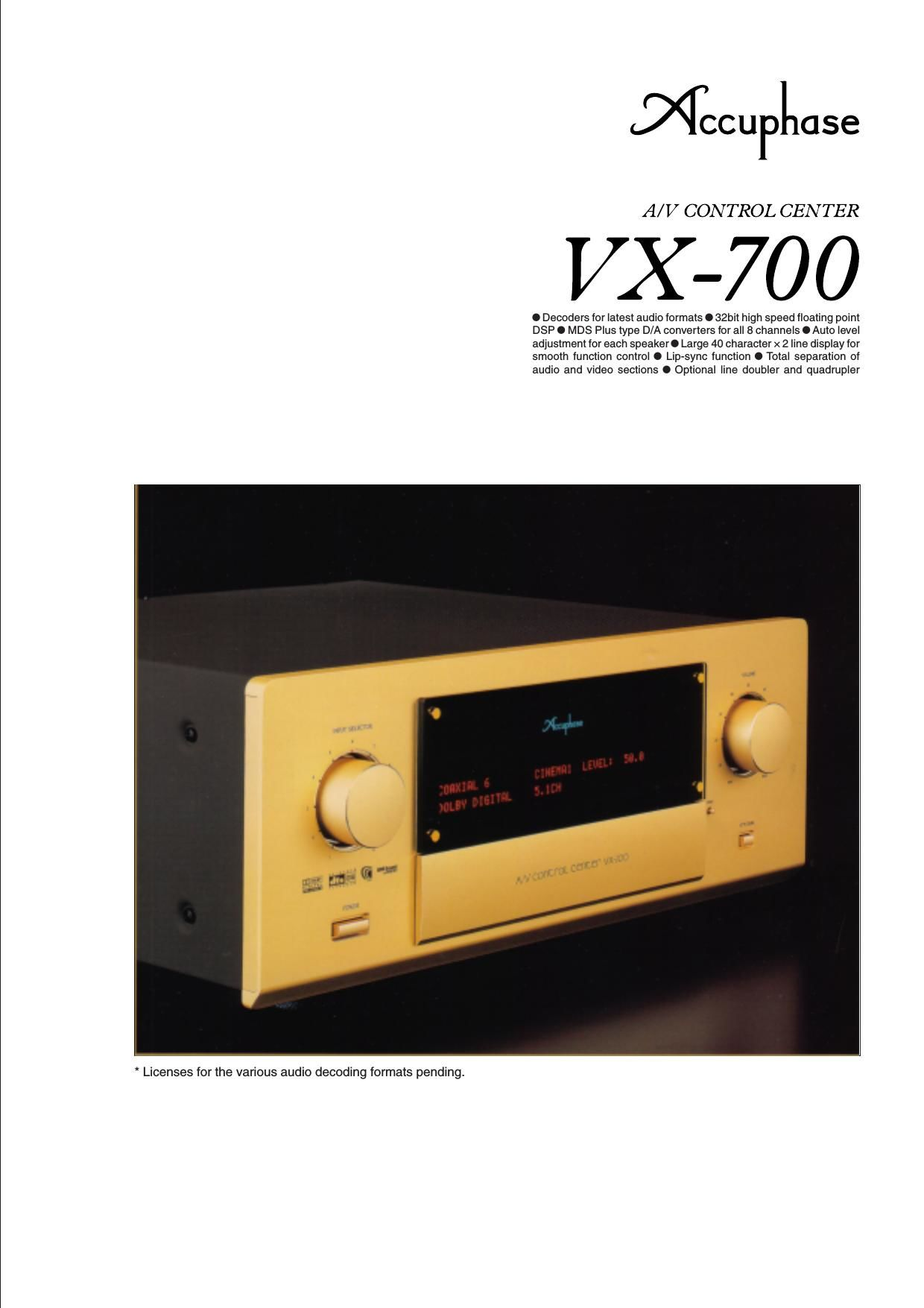Accuphase VX 700 Brochure