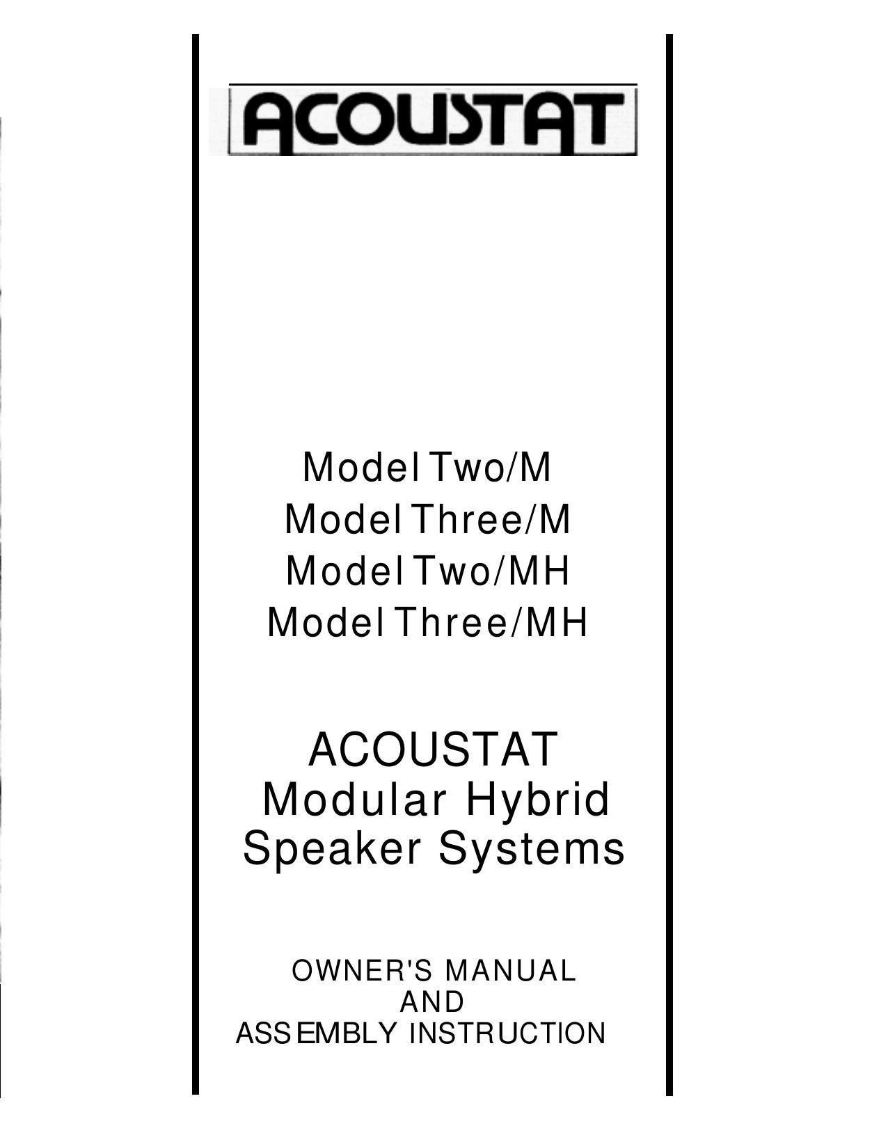 Acoustat Model 2 MH Owners Manual