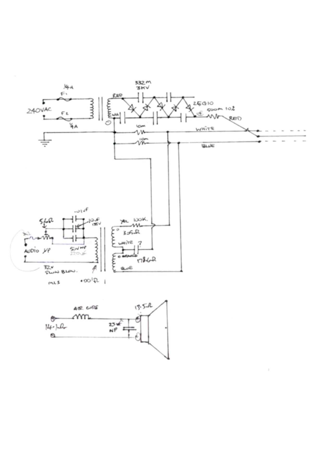 Acoustat Model 2 MH Schematic