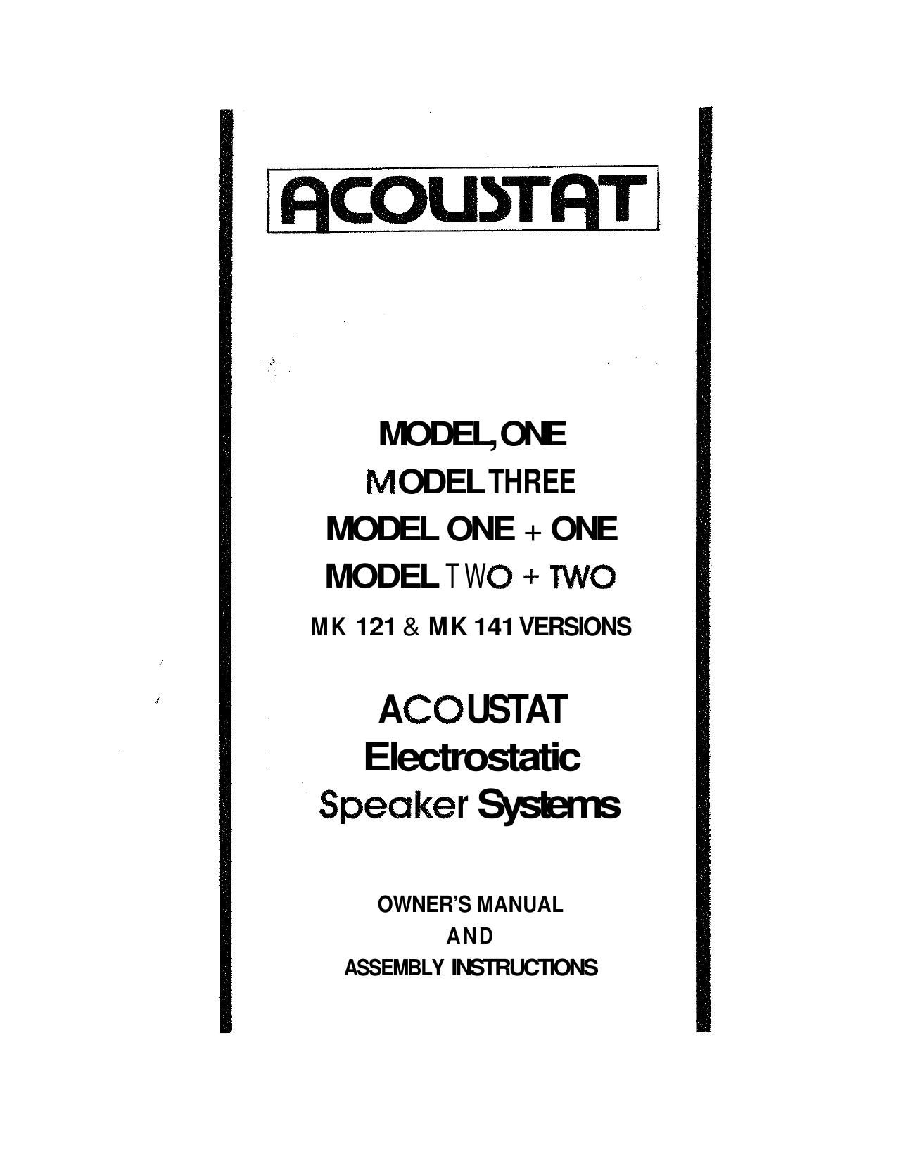 Acoustat Model 3 Owners Manual