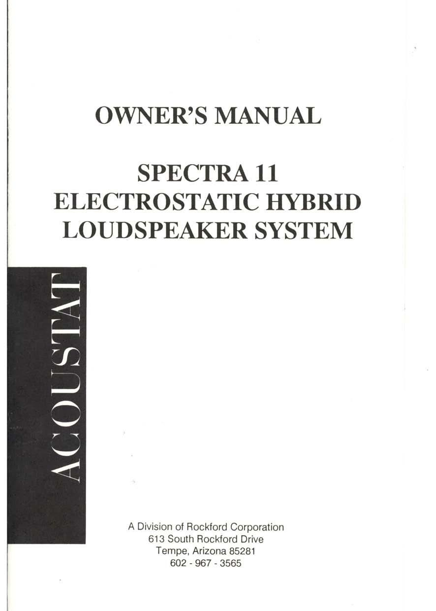 Acoustat Spectra 11 Owners Manual
