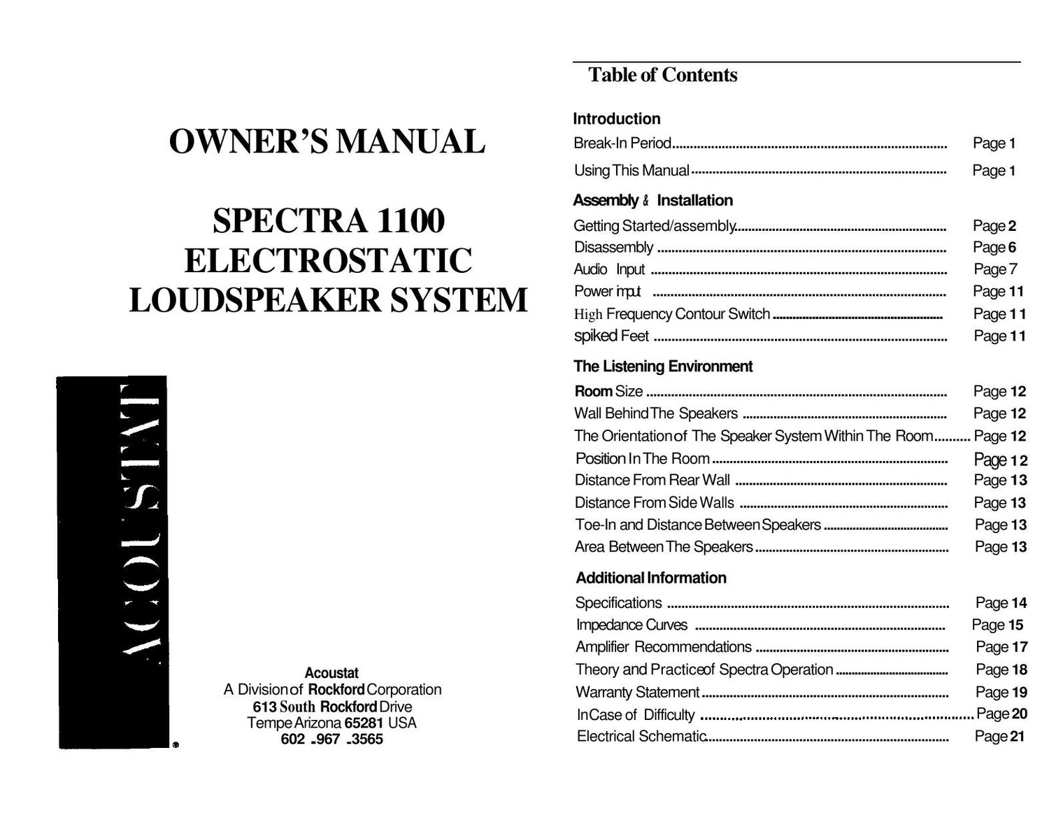 Acoustat Spectra 1100 Owners Manual
