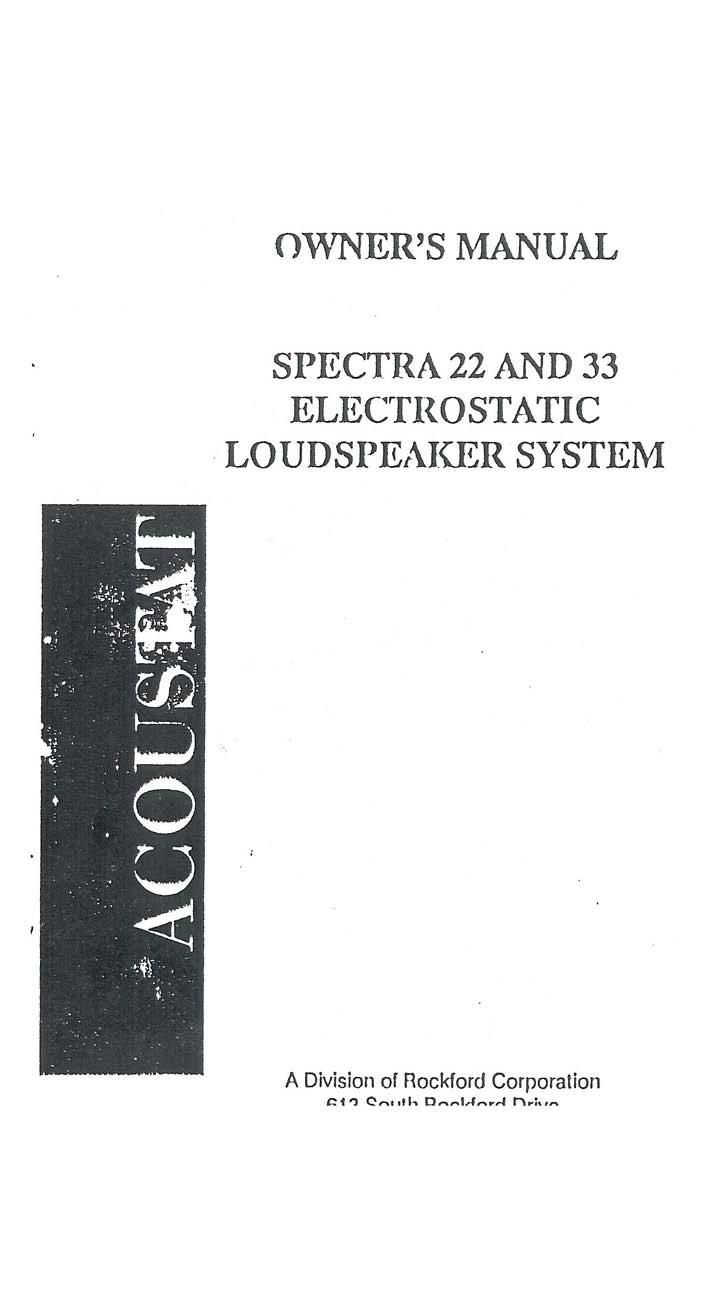 Acoustat Spectra 33 Owners Manual