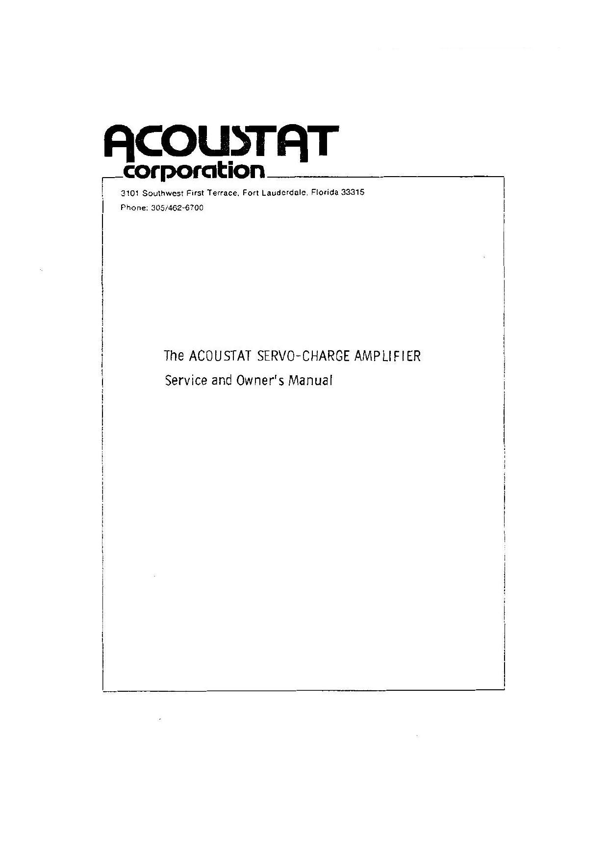 Acoustat X Owners Manual