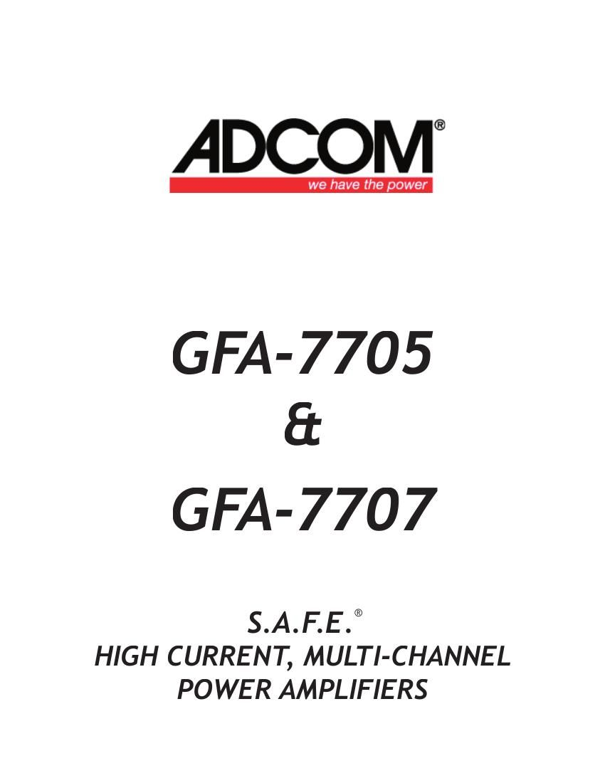 Adcom 7705 Owners Manual