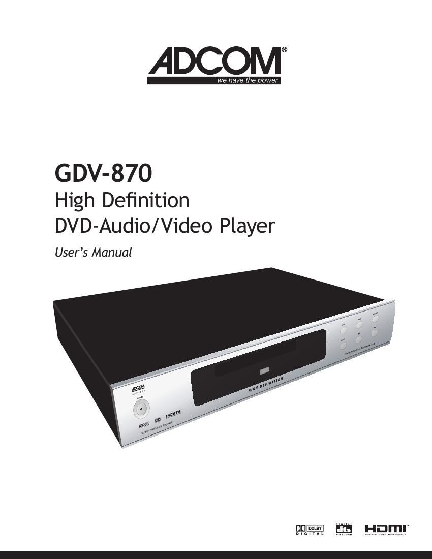 Adcom GDV 870 Owners Manual