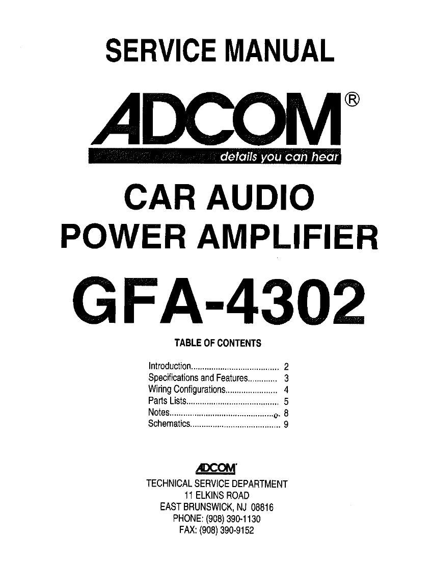 Adcom GFA 4302 Service Manual