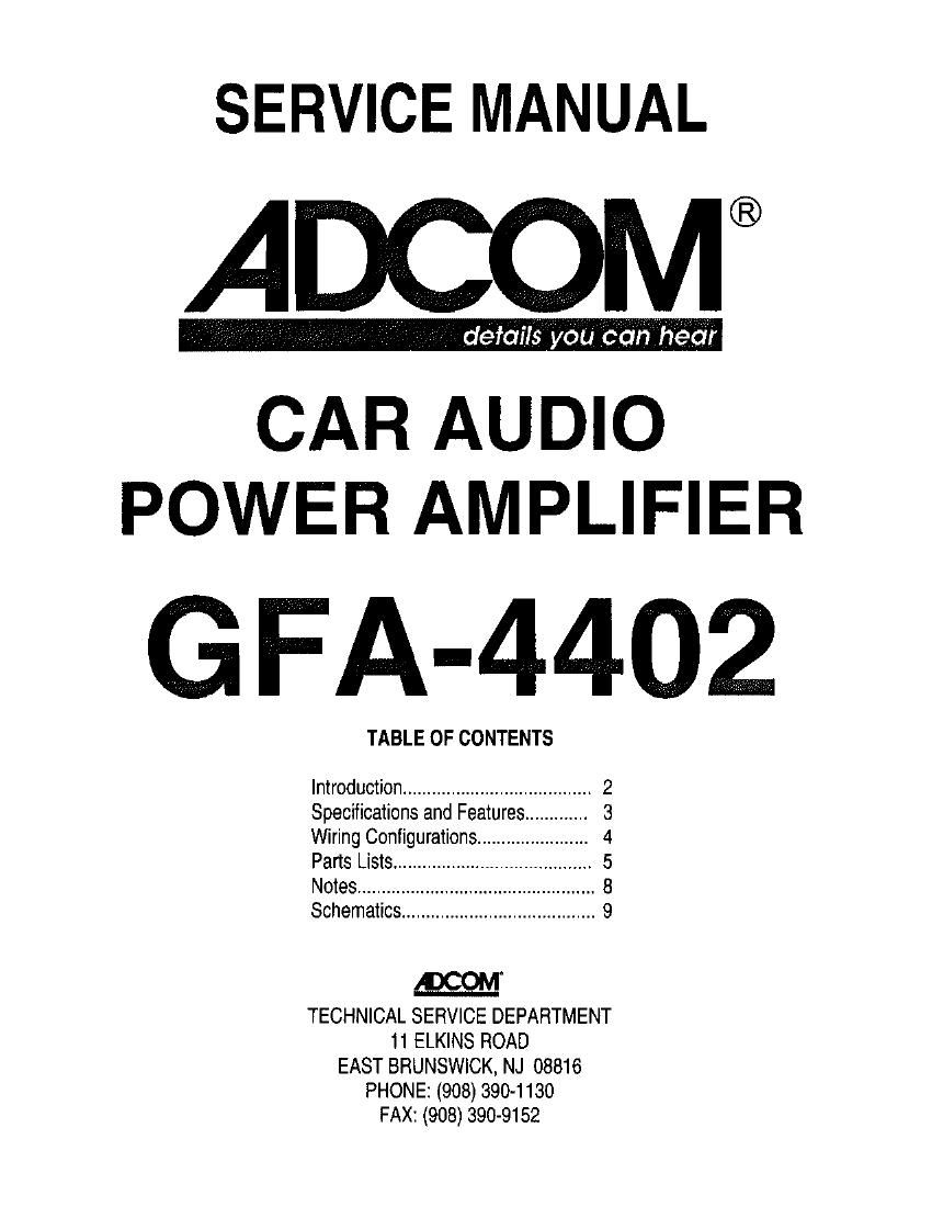 Adcom GFA 4402 Service Manual