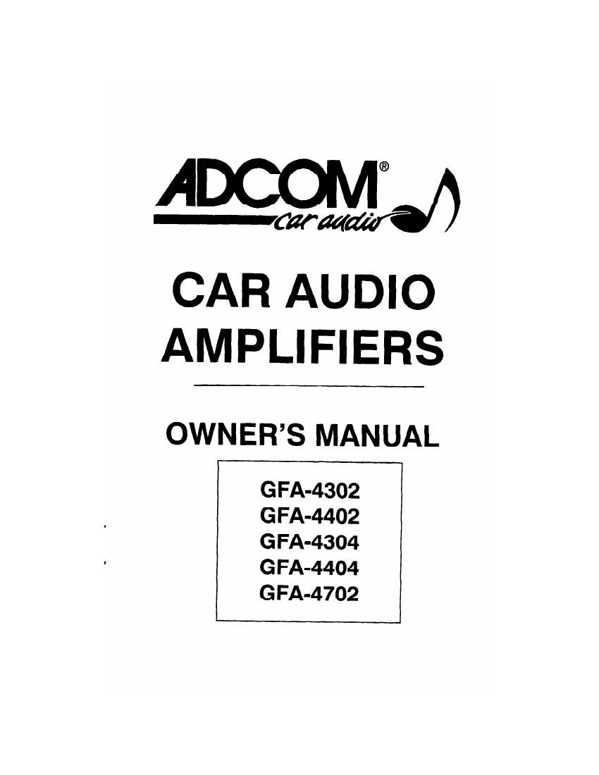Adcom GFA 4404 Owners Manual