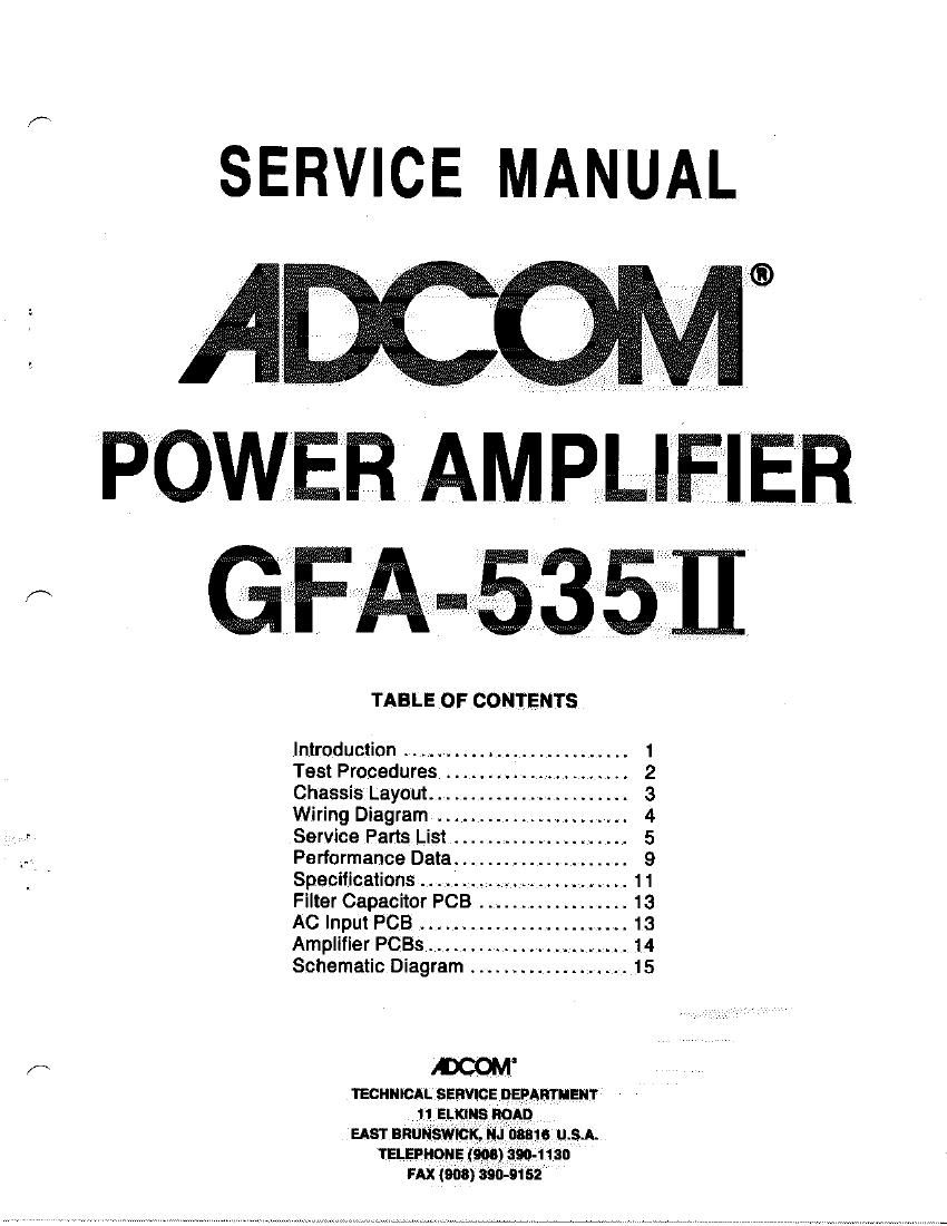 Adcom GFA 535 II Service Manual