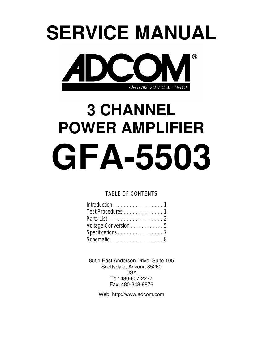 Adcom GFA 5503 Service Manual