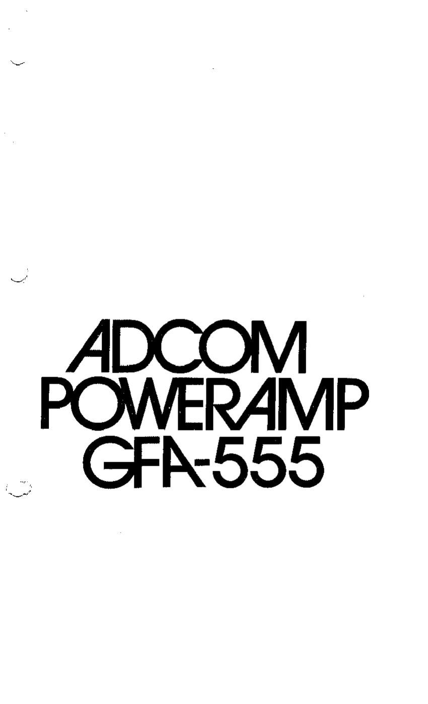 Adcom GFA 555 Owners Manual